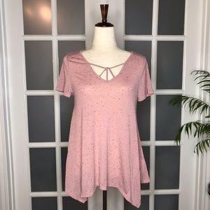 NWT Women's sz M Blu-Pepper Blush Short Sleeve Top